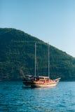 Wooden sailing ship. Montenegro, Bay of Kotor. Water transport Stock Photography
