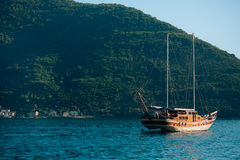 Wooden sailing ship. Montenegro, Bay of Kotor. Water transport Royalty Free Stock Photos