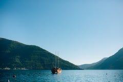 Wooden sailing ship. Montenegro, Bay of Kotor. Water transport Royalty Free Stock Photography