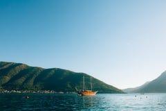 Wooden sailing ship. Montenegro, Bay of Kotor. Water transport Royalty Free Stock Image