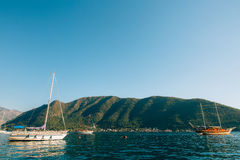 Wooden sailing ship. Montenegro, Bay of Kotor. Water transport Stock Photo