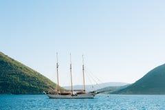 Wooden sailing ship. Montenegro, Bay of Kotor. Water transport Stock Photos