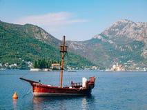 Wooden sailing ship. Montenegro, Bay of Kotor. Water transport Stock Image