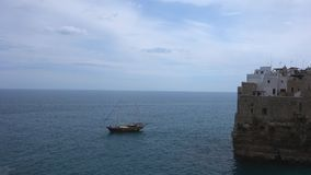 Wooden sailing ship. Polignano a mare. Puglia. Italy. stock video footage