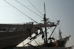 Wooden sailing ships in Jakarta, Indonesia. Royalty Free Stock Photography