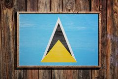 Wooden Saint Lucia flag Royalty Free Stock Image
