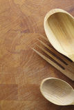 Wooden salad servers Stock Image
