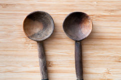 Wooden salad servers Royalty Free Stock Photography