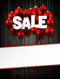 Wooden sale background with balls. Wooden sale background with red Christmas balls. Vector illustration Royalty Free Stock Photo