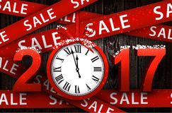 Wooden sale 2017 background with clock. Wooden sale 2017 background with clock and ribbon. Vector illustration Royalty Free Stock Images