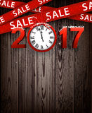Wooden sale 2017 background with clock. Wooden sale 2017 background with clock and ribbon. Vector illustration Royalty Free Stock Photos
