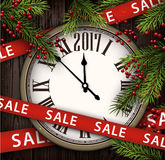 2017 wooden sale background. 2017 sale background with fir branches and clock. Vector illustration Stock Images