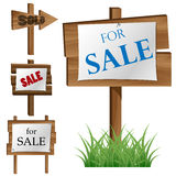 Wooden sale board set Stock Images