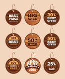 Wooden sale discount vector vintage badges, banners, stickers, labels set stock illustration