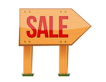 Wooden sale sign illustration Royalty Free Stock Image