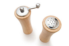 Wooden salt and pepper royalty free stock image
