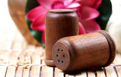 Wooden salt and pepper containers Royalty Free Stock Photos