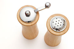 Wooden salt and pepper shaker Stock Photos