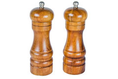 Wooden salt and pepper shakers royalty free stock photo