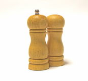 Wooden salt shakers stock image