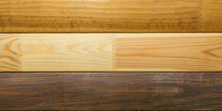 Wooden samples of different types of material. stock photography
