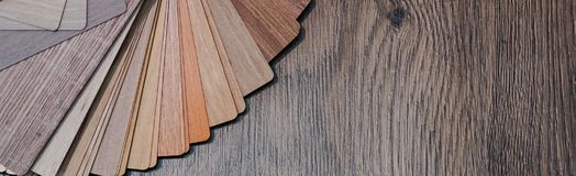 Wooden samples for floor laminate or furniture in home or commercial building.Small color sample boards. Copy space, design stock image