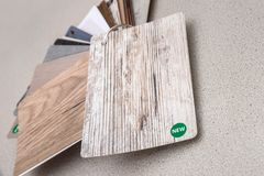 Wooden samples for floor laminate or furniture. In home or commercial building royalty free stock photos