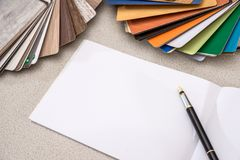 Wooden samples for furniture with blank note stock photography