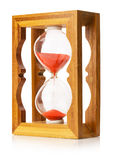 Wooden sand clock isolated on the white background Royalty Free Stock Photography