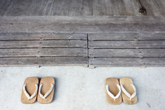 Wooden sandals Stock Photography