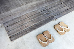 Wooden sandals Stock Photos