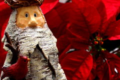 Wooden Santa Claus. Wooden Statue of Santa Claus with Poinsettia backdrop Royalty Free Stock Images
