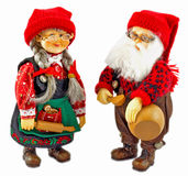 Santa Claus and his wife. Wooden Santa Claus and wife. Dressed up nicely Royalty Free Stock Image