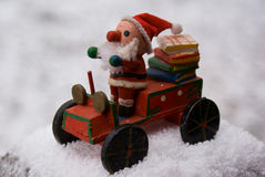 Wooden Santa in Snow Stock Photography