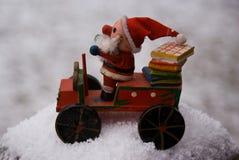 Wooden Santa in Snow Stock Photos