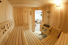 Wooden sauna Stock Images