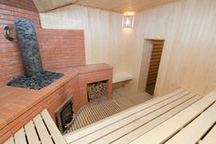 Wooden sauna Stock Photo