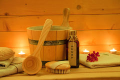 Wooden Sauna and Accessories Set. At the candlelight Royalty Free Stock Photos