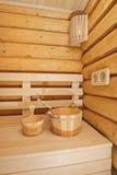Wooden sauna accessory Royalty Free Stock Photos