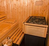 Wooden sauna area in luxury hotel stock photo