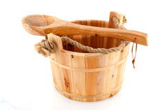 Wooden sauna bucket Stock Image