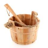 Wooden sauna bucket Stock Images