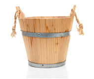 Wooden sauna bucket Royalty Free Stock Photo
