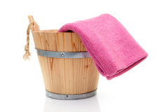 Wooden sauna bucket Royalty Free Stock Images