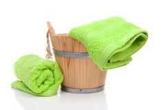 Wooden sauna bucket Stock Image