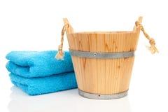 Wooden sauna bucket Royalty Free Stock Photography