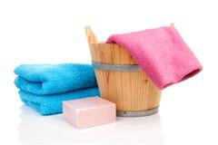 Wooden sauna bucket Stock Photos