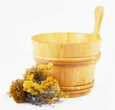 Wooden sauna bucket Royalty Free Stock Image