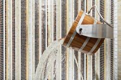 Wooden sauna bucket Royalty Free Stock Photo