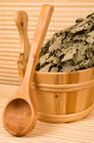 Wooden sauna bucket and spoon Royalty Free Stock Photography